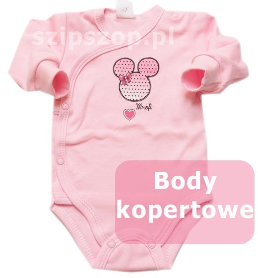 body kopertowe dla noworodka w kolorze różowym