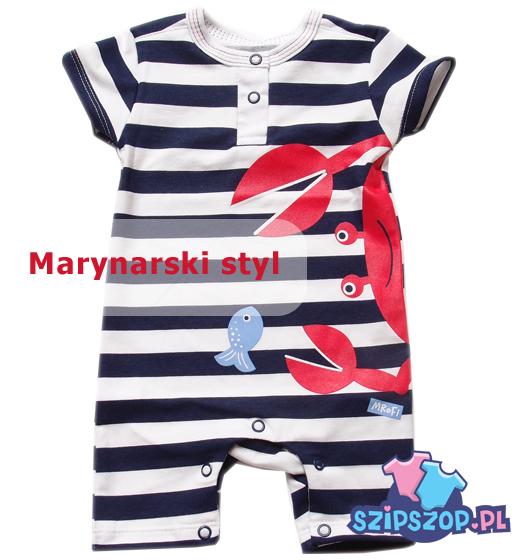 Rampers niemowlęcy w marynarskie pasy