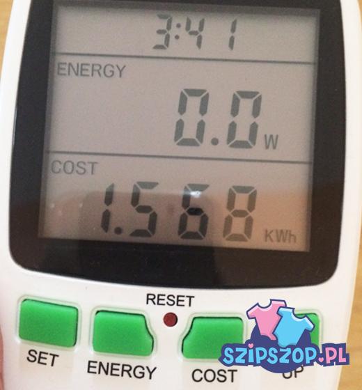 Watomierz pokazujący ile prądu pobrała suszarka