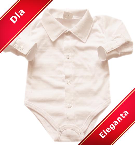 Cudowna Body dla dzieci koszulowe z kołnierzykiem białe - SzipSzop QX02