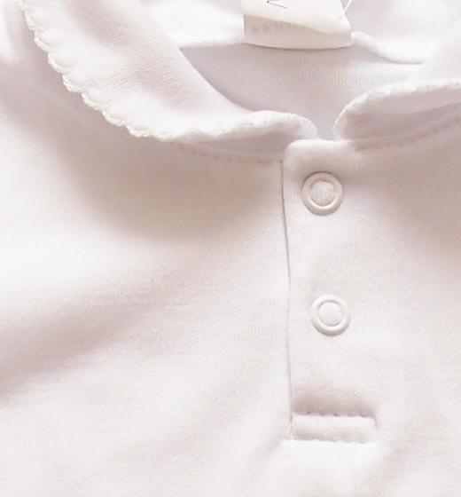 Cudowna Body dla dziewczynek Polo z kołnierzykiem białe - SzipSzop IN42
