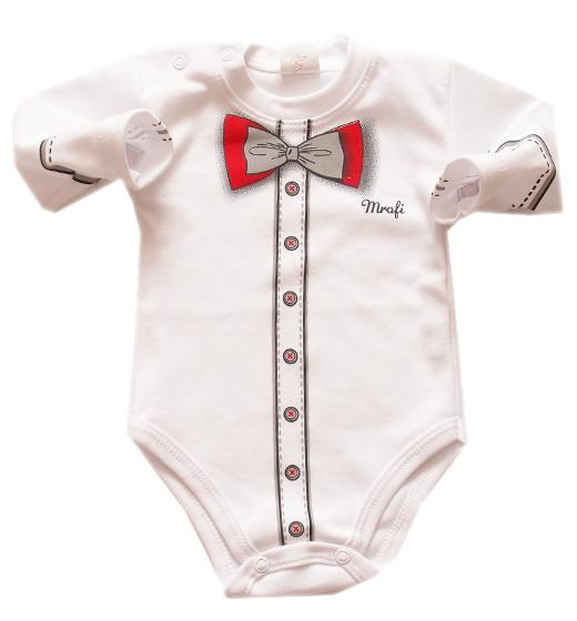 Masywnie Body dla niemowląt Mały Elegant z czerwoną muszką - SzipSzop WN23