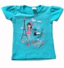 T-shirt dla dziewczynki Mała Paryżanka morski 92