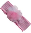 Opaska dla dziewczynki Dora z tiulowš różyczkš róż jasny i szary 50-53cm