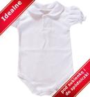 Body dla niemowlšt polo z bufkami i kołnierzykiem biel krótki rękaw 62