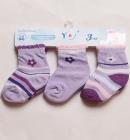 Skarpetki dla niemowlaka 3 pary w zestawie 3-6m fioletki