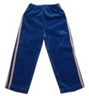 Spodnie dresowe welurowe dla dzieci z lampasami niebieskie Super Machine 110