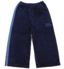 Spodnie dresowe welurowe dla dzieci z lampasami granat Super Machine 80