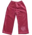 Spodnie dziewczęce welurowe zgaszony róż z serduszkiem 92