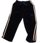 Spodnie dresowe welurowe dla dzieci z ecru lampasami granat Super Machine 104