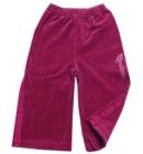 Spodnie dresowe welurowe dla dzieci z lampasami zgaszony róż Biker 110