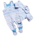 Komplet dla niemowlšt Œpioszki i Kaftanik z kołnierzykiem Króliczek niebieski 56