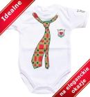 Body dla niemowlšt Mały Elegancik z krawatem czerwono zielonym krótki rękawek 80