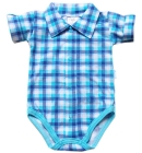Body niemowlęce koszulowe z kołnierzykiem Elegancik krótki rękaw morskie 62